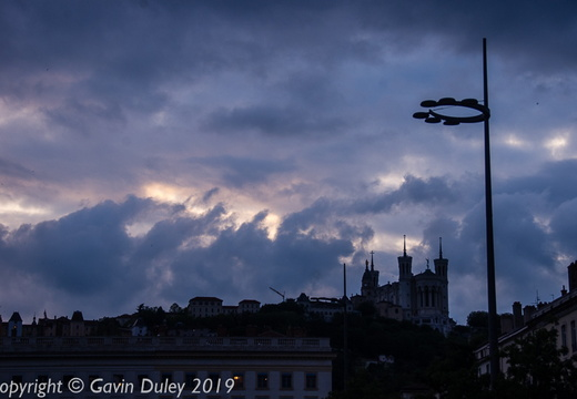 La Basilique Notre Dame de Fourvière from Place Bellecour, evening